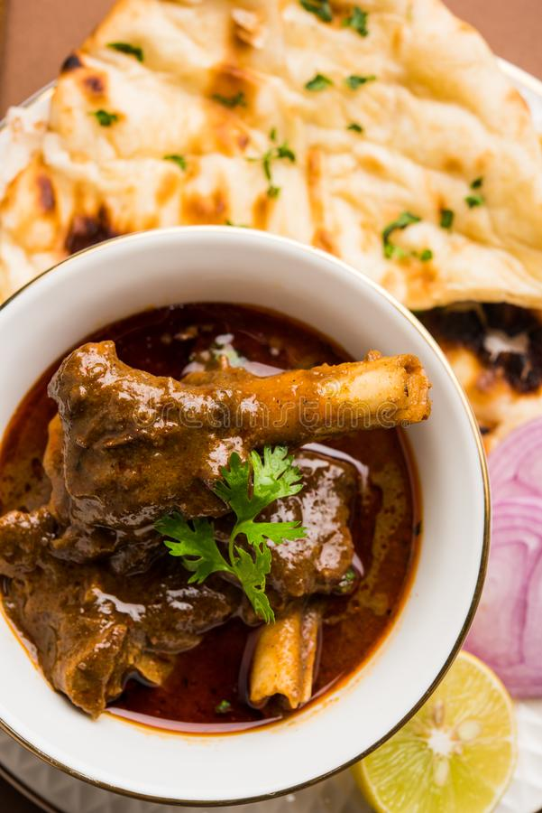 Mutton Masala Or Masala Gosht or indian lamb rogan josh. With some seasoning, served with Naan or Roti, selective focus royalty free stock images