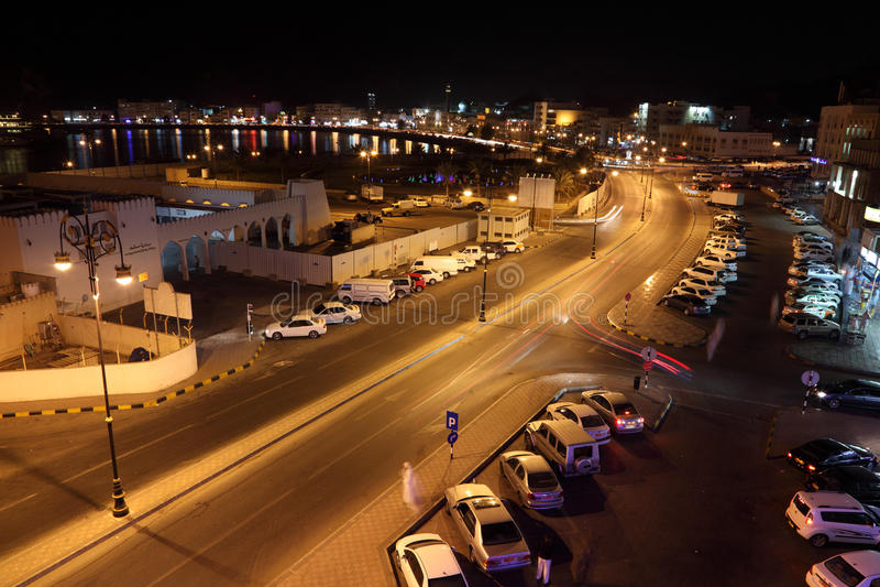 Muttrah Corniche bij nacht, Oman royalty-vrije stock fotografie