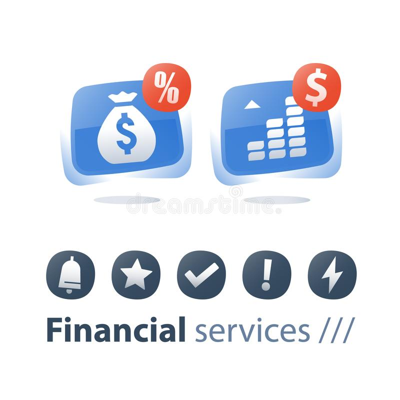 Payment installment, mutual fund, income increase, boost profit, more money, long term investment return, pension savings account stock illustration