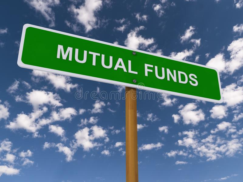 Mutual funds. A traffic sign with the phrase mutual funds under blue sky with clouds stock photo