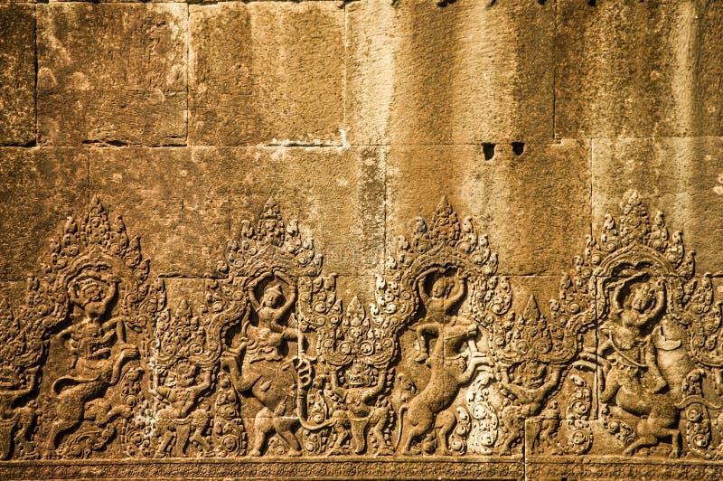 Muur in Angkor Wat stock afbeelding