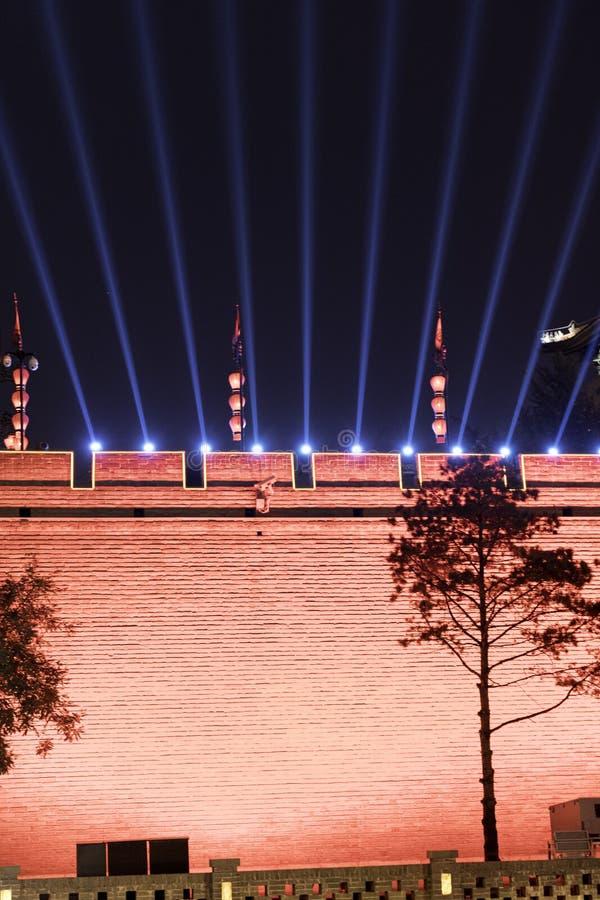 Muur en de bouw Chinese traditionele Xian van het steen de oude historische fort royalty-vrije stock fotografie