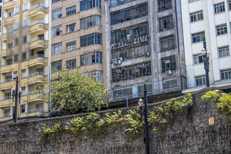 Muur en gebouwen stock foto