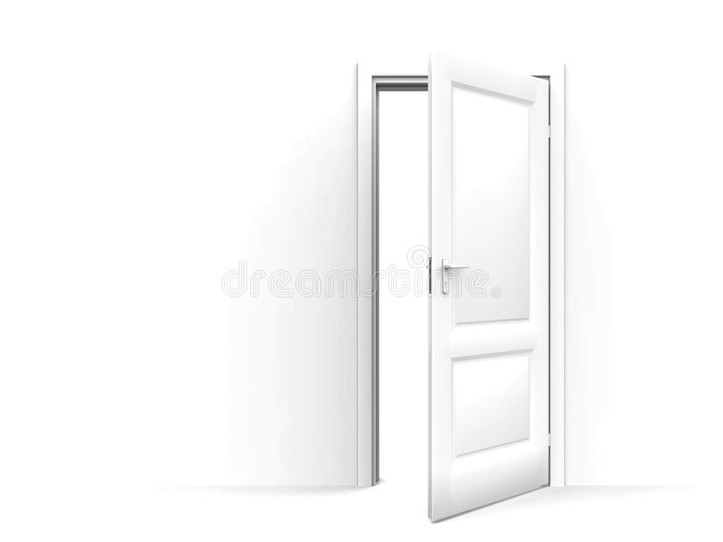 Muur en geopende deur stock illustratie