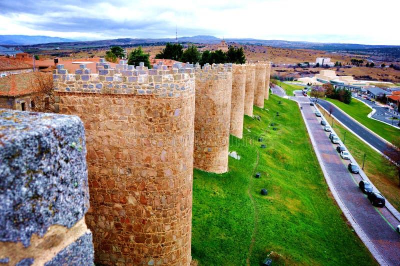 Muur en torens, Avila, Spanje, stock afbeeldingen