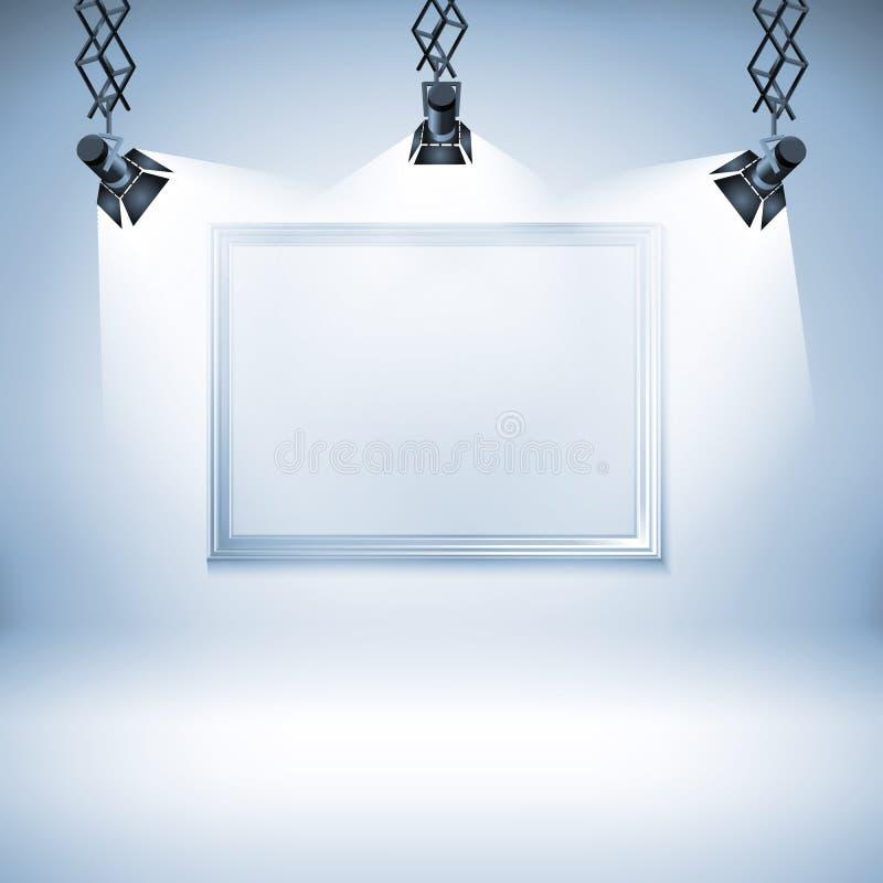 Muur met beeld Vector illustratie schijnwerper, licht, vlek, kader, achtergrond, vector illustratie