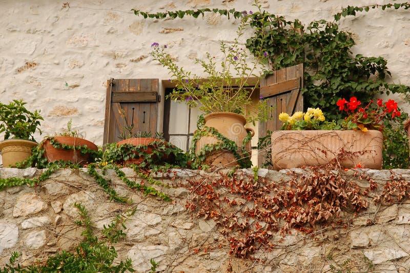 Muur met bloempotten stock afbeeldingen