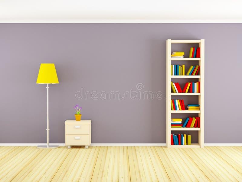 Muur met boekenkast en nightstand royalty-vrije illustratie