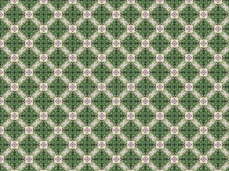 Muur met een patroon van pleister met groene bladeren wordt verfraaid dat vector illustratie