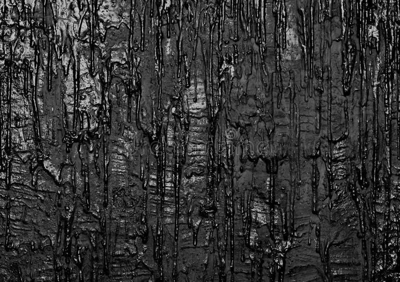 Muur met zwarte stromende verf, kunstachtergrond royalty-vrije stock afbeelding