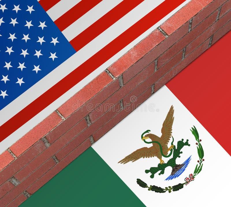 Muur tussen de V.S. en Mexico royalty-vrije illustratie