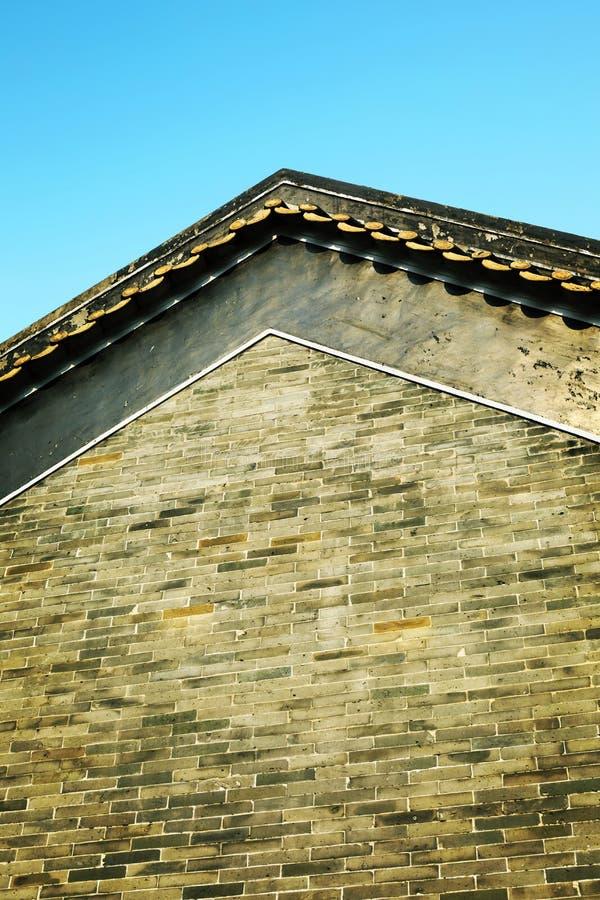 Muur van Chinees traditioneel landelijk de woningshuis van Azië met klassiek ontwerp en patroon in oosterse stijl in China royalty-vrije stock afbeeldingen