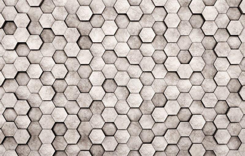 Muur van concrete zeshoeken stock foto's