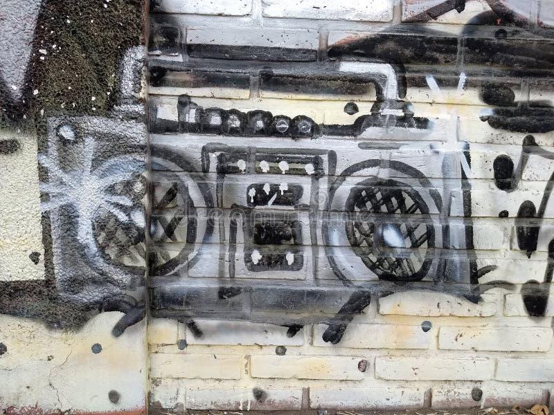 Muur van de cassette de audio radiograffiti royalty-vrije stock afbeeldingen