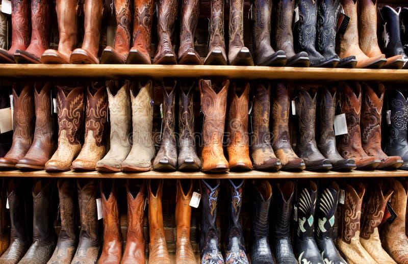 Muur van de Laarzen van de Cowboy royalty-vrije stock foto