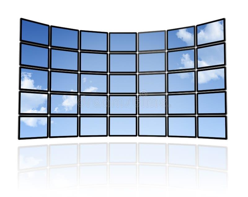 Muur van de vlakke TVschermen stock illustratie