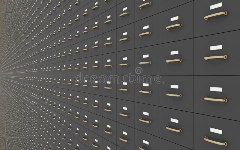 Muur van Gray Filing Cabinets royalty-vrije illustratie