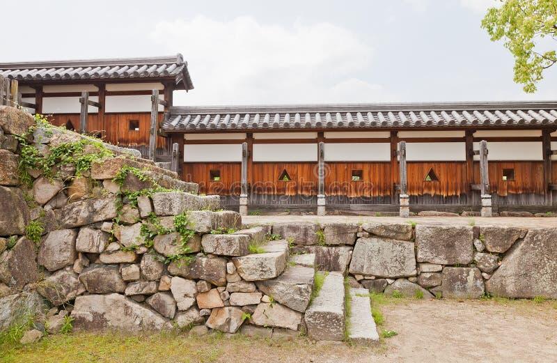 Muur van het Kasteel van Hiroshima, Japan Nationale Historische Plaats royalty-vrije stock foto's