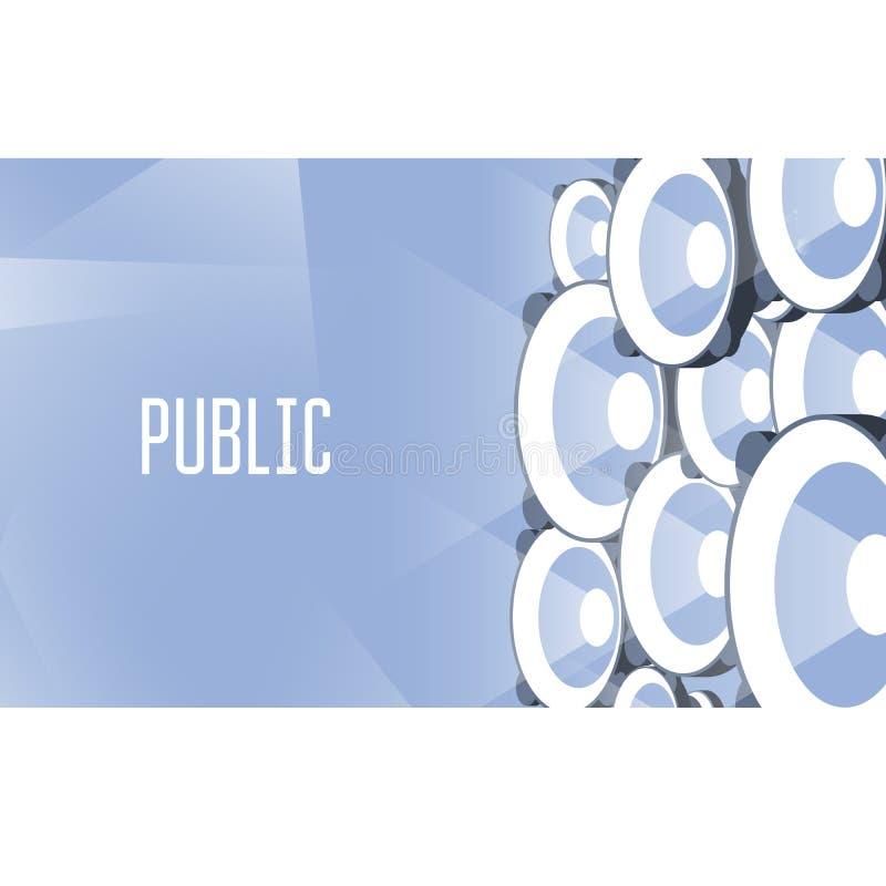 Muur van luidsprekers - het uitzenden megafoons, bekendheid vector illustratie