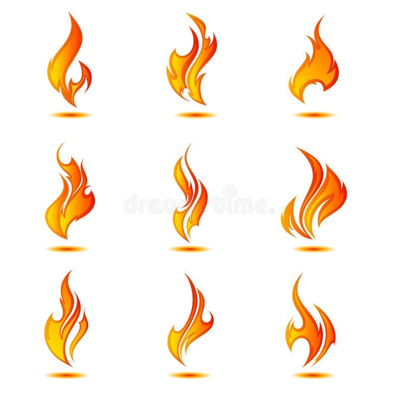 Muur van vlammen collage stock fotografie