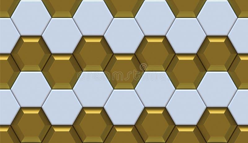 Muur wit plastiek met gouden ontwerp hexagon 3d panelen Hoog - naadloze kwaliteit vector illustratie