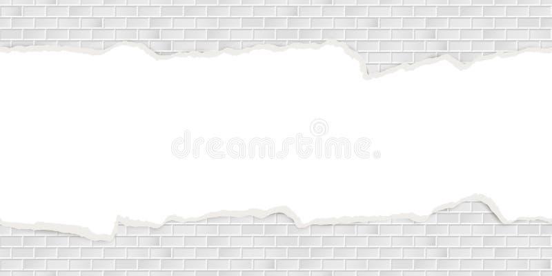 muurachtergrond met gebroken naadloos pleister stock illustratie