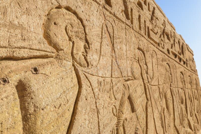 Muurgravure, Abu Simbel, Egypte stock fotografie