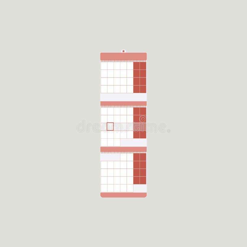 Muurkalender als ontwerpelement van bureaubinnenland in wit en koraalkleuren op een grijze achtergrond malplaatje Eenvoudige vlak stock illustratie