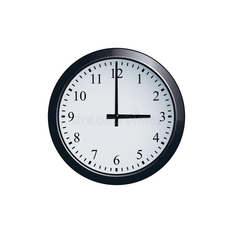 Muurklok bij de klok die van 3 o wordt geplaatst ` royalty-vrije illustratie