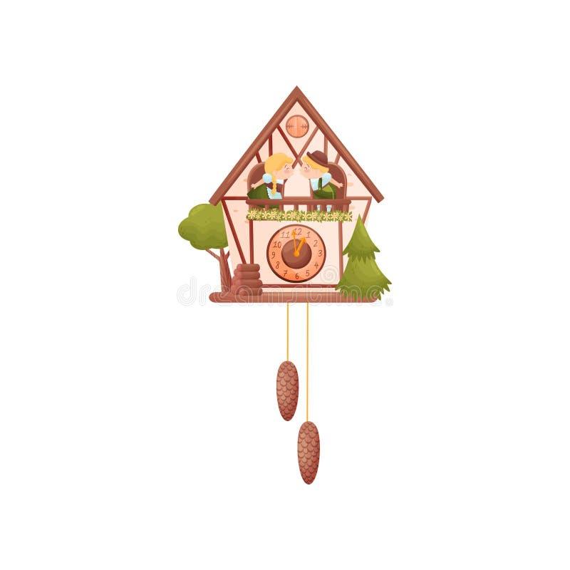 Muurklok in de vorm van een huis Jongen en meisje op de balkons Brandhout voor het huis Vector illustratie vector illustratie