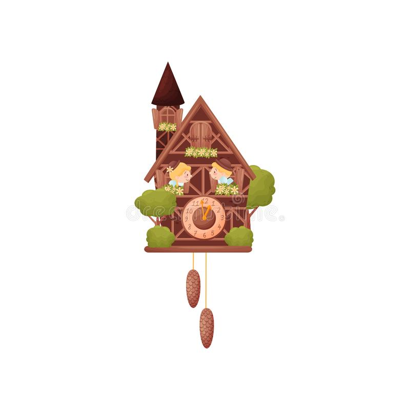 Muurklok in de vorm van een huis met een toren De jongen en het meisje kijken uit de vensters Vectorillustratie op wit royalty-vrije illustratie