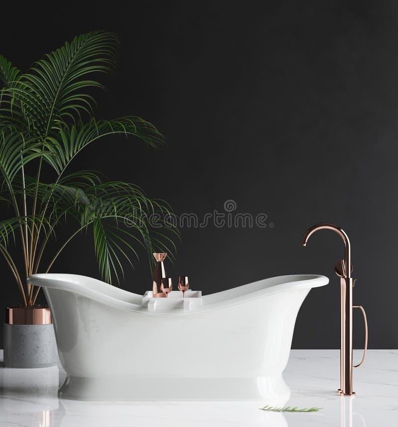 Muurprototype in luxe minimalistische badkamers stock afbeeldingen