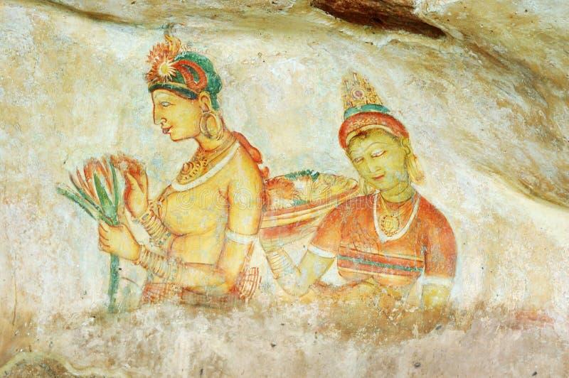 Muurschilderij in Sigiriya rotsklooster, Ceylon royalty-vrije stock afbeelding