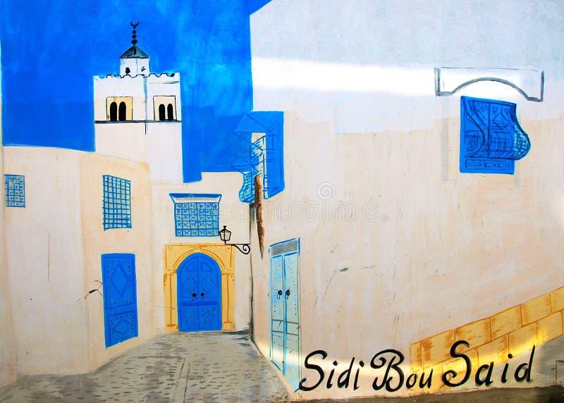 Muurschilderij van bovengenoemd sidibou, Tunesië stock fotografie