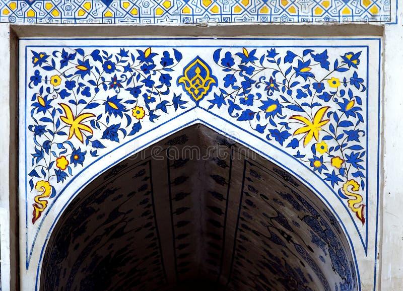 Muurschilderij van de moskee van Kok Gumbaz, Oezbekistan royalty-vrije stock afbeelding