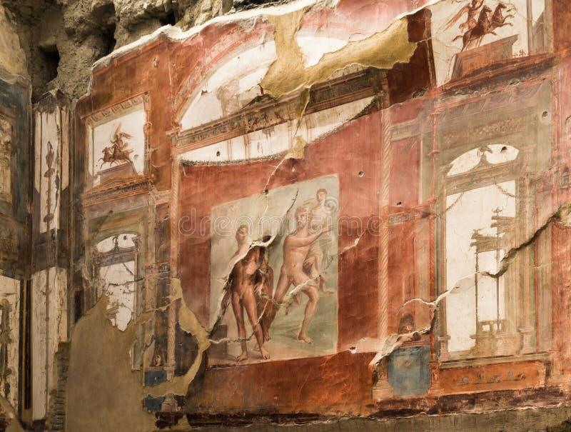 Muurschilderij van Neptunus en Aimone in Herculaneum, Italië stock fotografie