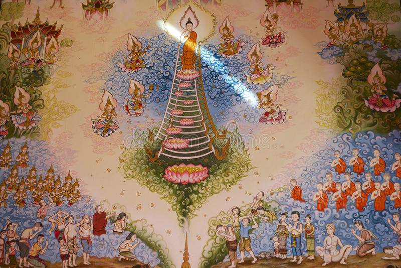 Muurschilderij in Wat Mani Phraison, Mae Sot, Tak-provincie, Thailand royalty-vrije stock afbeelding