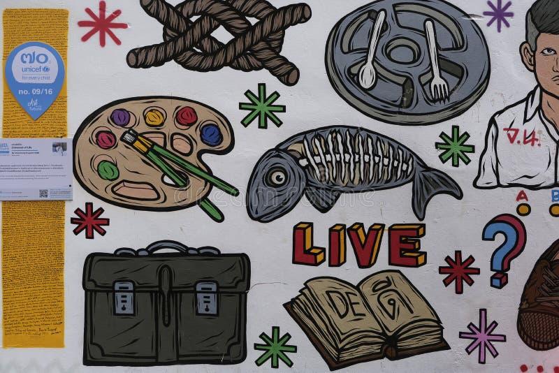 Muurschildering 'Algemeen begrip van het Leven 'door Channalong Krugioed royalty-vrije illustratie
