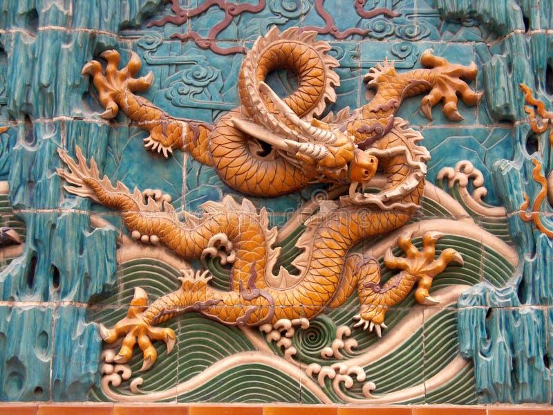Muurschildering 3 van de draak royalty-vrije stock afbeeldingen