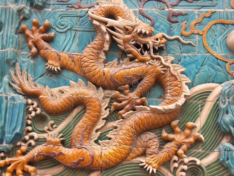 Muurschildering 5 van de draak stock foto