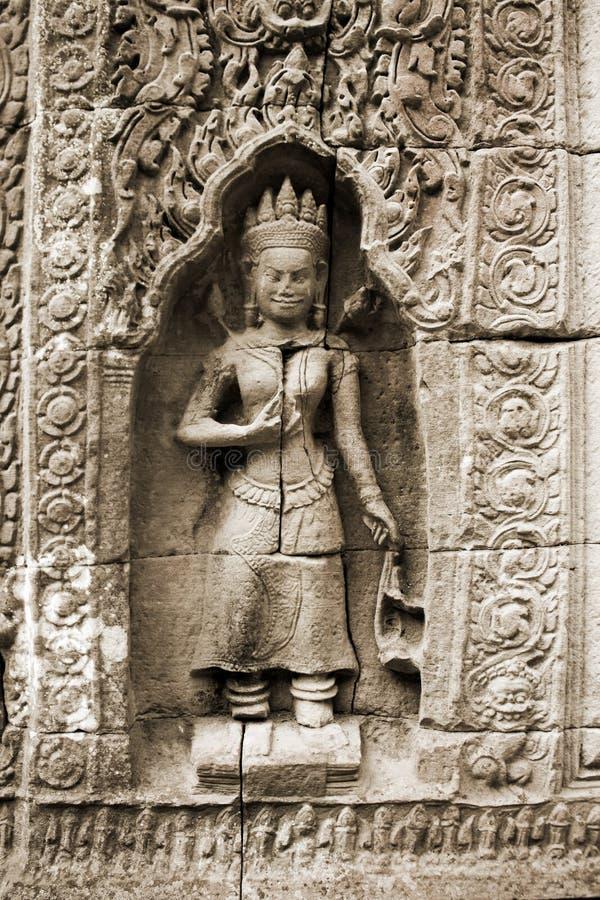 Muurschildering bij de complexe tempel van Angkor Wat, Kambodja stock foto's