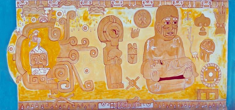 Muurschildering die Azteekse/Mayan Familie & Vruchtbaarheid afschilderen royalty-vrije stock fotografie