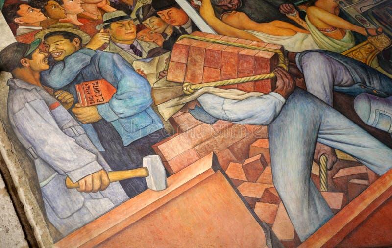 Muurschildering door Diego Rivera, Mexico stock afbeeldingen