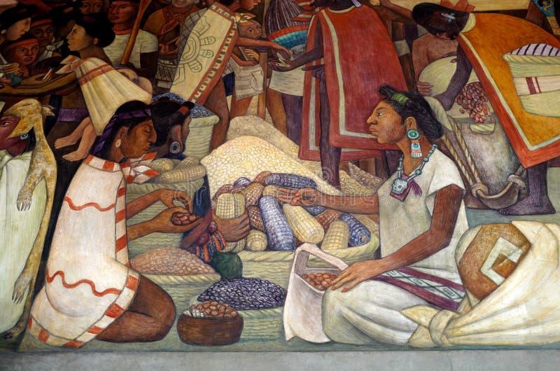 Muurschildering door Diego Rivera, Mexico stock foto