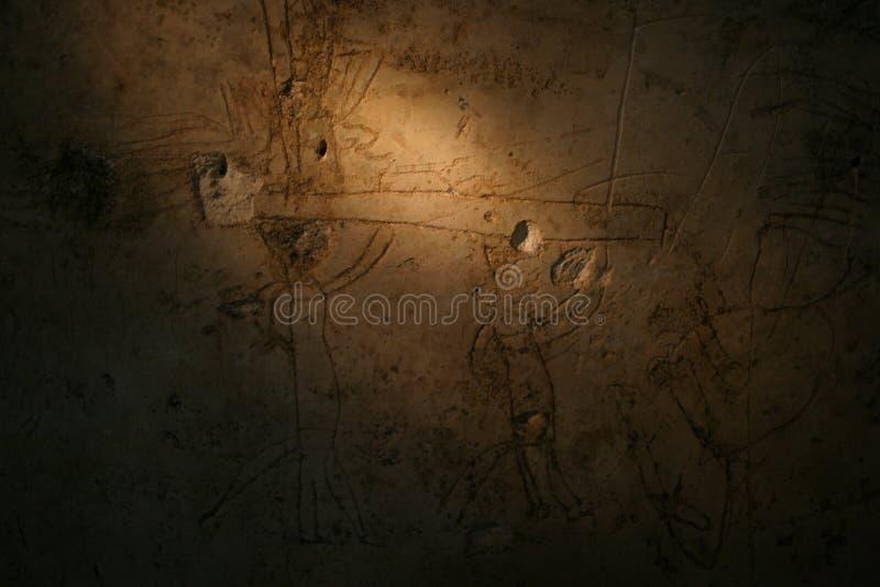 Muurschildering in een woonplaats in Mayan Stad van Nakum stock foto