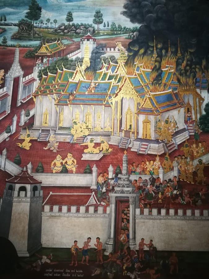 Muurschildering het schilderen ramayana bij Groot paleis Thailand royalty-vrije stock afbeeldingen