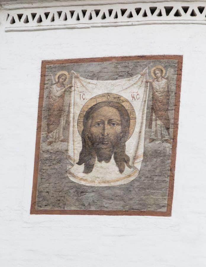 Muurschildering in kathedraal van Christus de redder, Irkoetsk, Russische federatie royalty-vrije stock foto