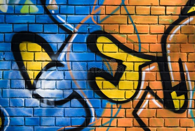 Muurschildering op baksteen muur-1 stock afbeelding