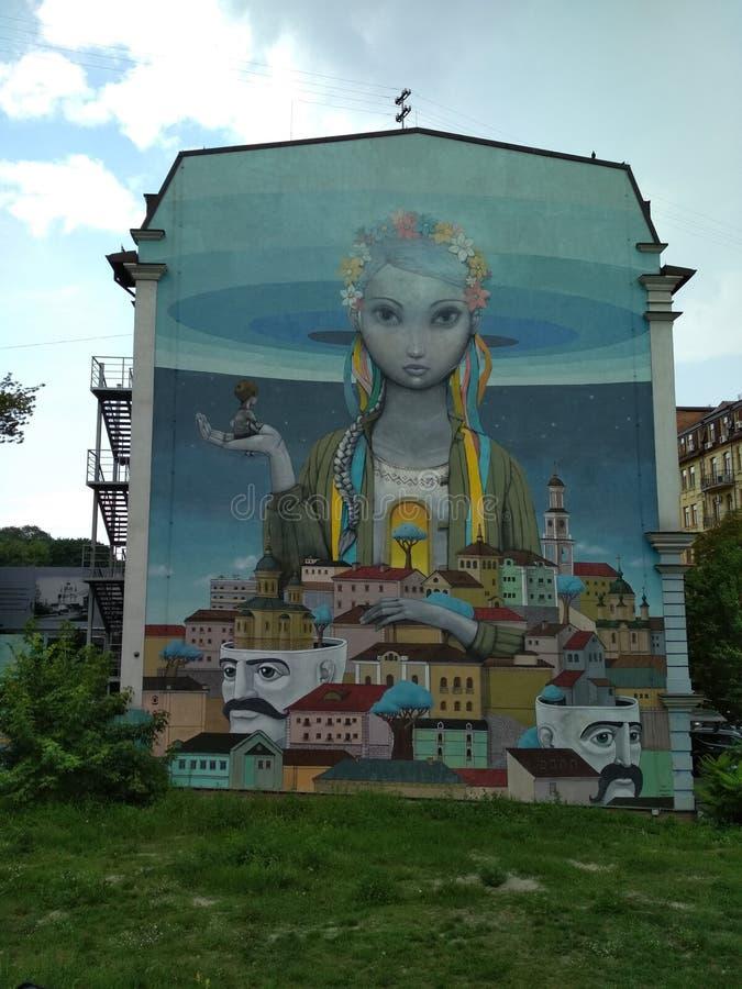 Muurschildering op het gebouw in Kyiv royalty-vrije stock foto