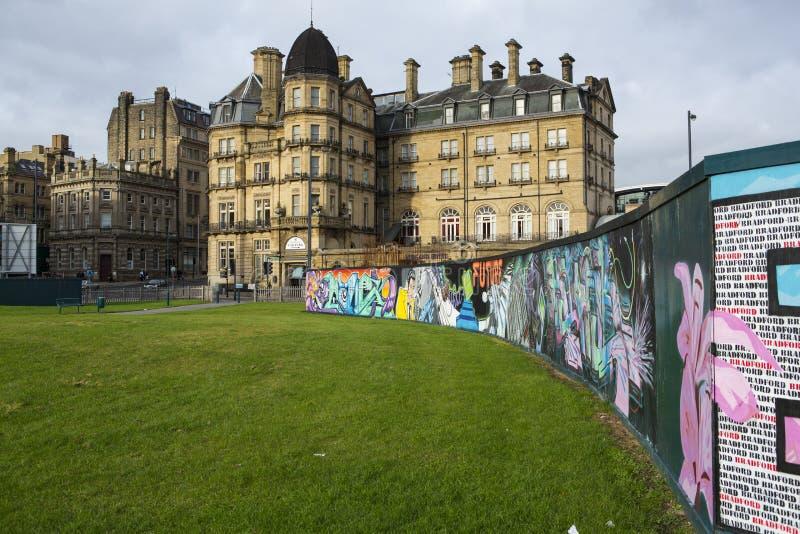 Muurschildering in Stadspark Bradford stock foto's